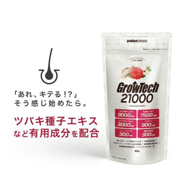 グロウテック21000【送料無料】 90粒(約30日分) 特許成分W配合で強く健やかに!