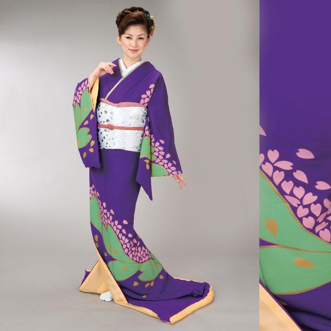 踊り 着物 裾引き 仕立て上がり紫地 文花びら柄舞台衣裳、着物(きもの)