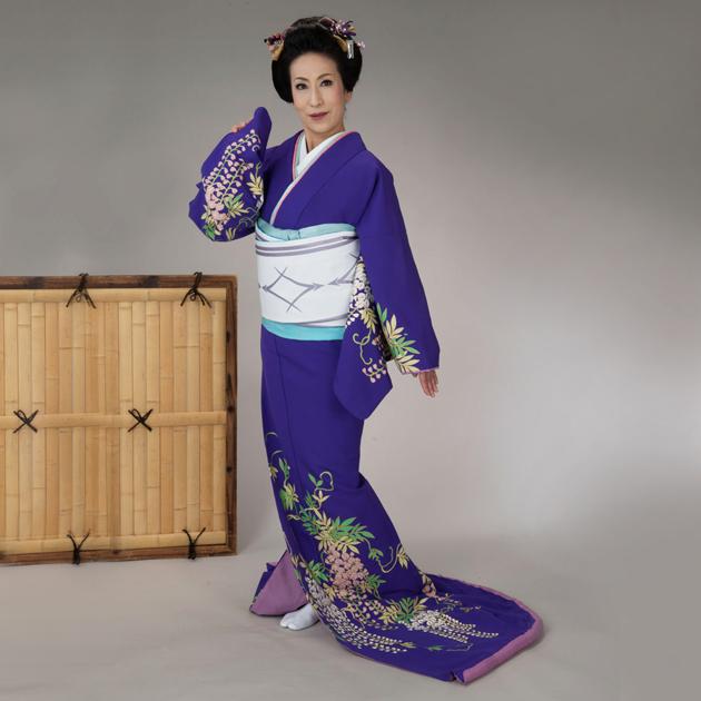 踊り 着物 裾引き 仕立て上がり紫地しだれ藤 舞台衣裳、着物(きもの)