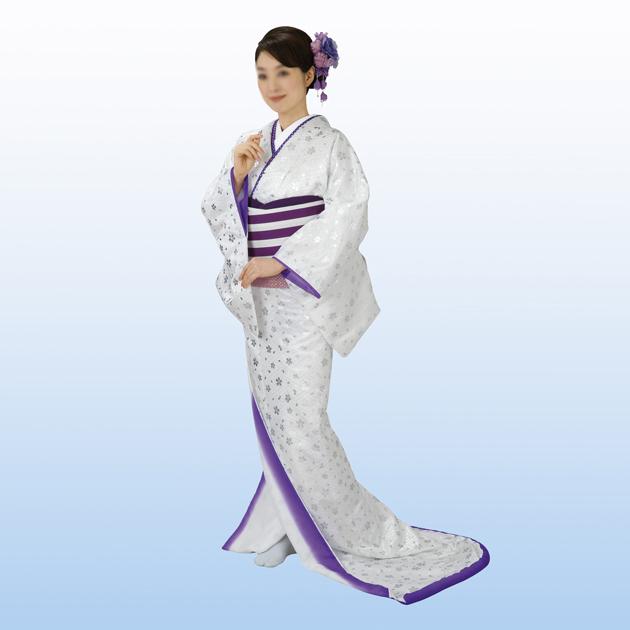 裾引き 仕立て上がり 着物(きもの)白地 銀箔 桜 舞台衣裳に。日本の踊り