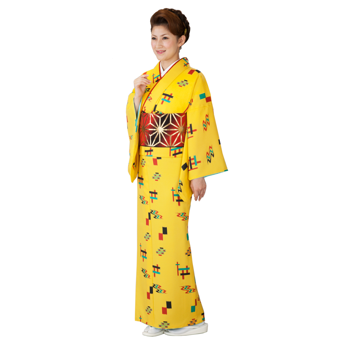 踊り 着物 踊り用小紋 胴抜仕立て上がり 黄色地 琉球かすり 着物(きもの)