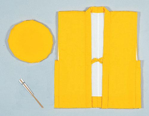 祝着セット 祝着 頭巾 白扇黄 無地 ちゃんちゃんこ 3点セット 米寿 「きぬずれ」ご希望の方は無料で熨斗&ラッピング付き