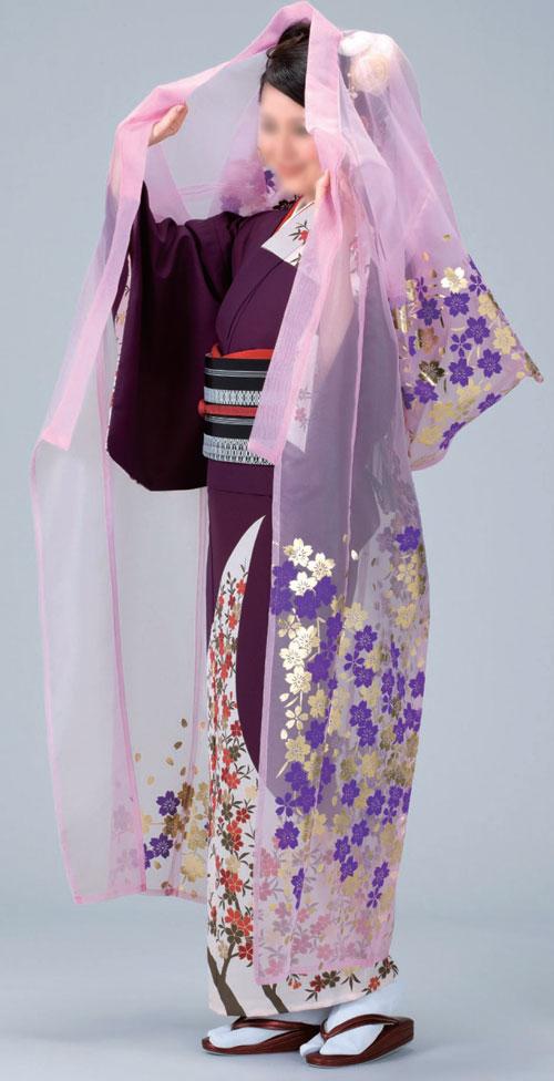かつぎ 桜 ピンク被衣 ※こちらはかけ仕立てでのお届けですかつぎ仕立にもできます。