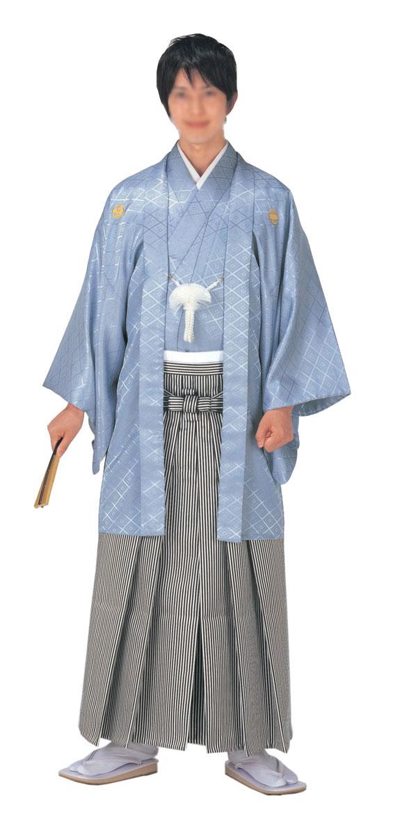 羽織 袴下セット はおり グレー 綸子 菱地模様 卒業式や成人式に「きぬずれ」