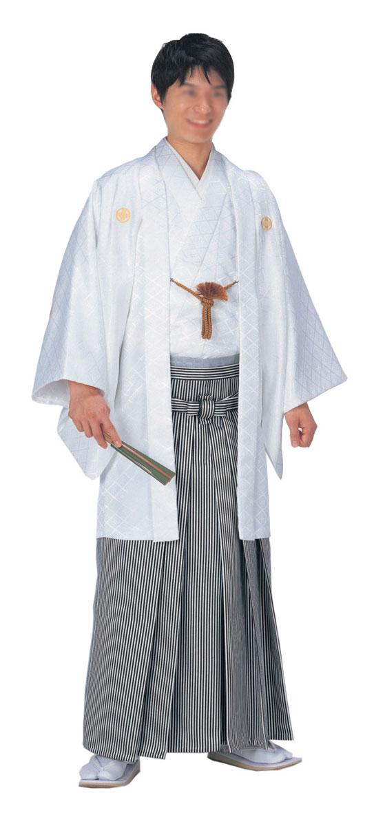 羽織 袴下セット はかま白 綸子 菱地模様 卒業式や成人式に「きぬずれ」