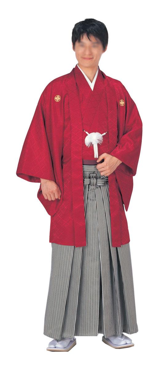 羽織 袴下セット はかま 赤 綸子 菱地模様卒業式や成人式に「きぬずれ」