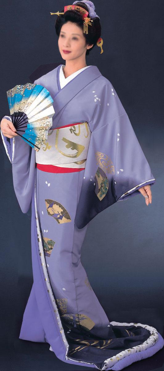 踊り 着物 裾引き 比翼付仕立上り紫地黒ボカシ 扇面紫無地比翼「きぬずれ」着物(きもの)