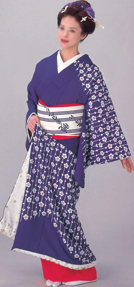 踊り 着物 裾引き 仕立て上がり 紫地 梅裏地白地金切り箔「きぬずれ」着物(きもの)
