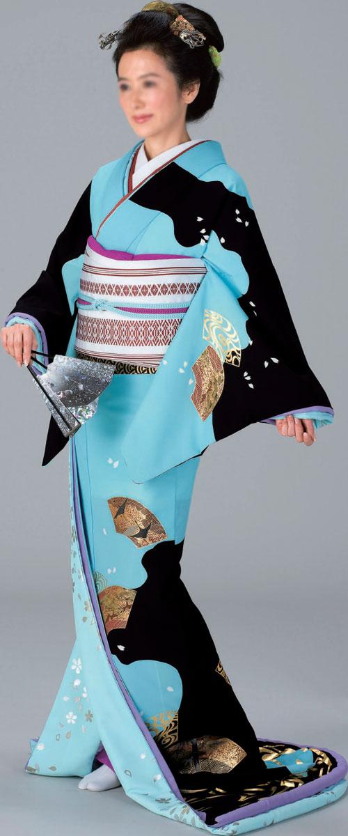 裾引き 比翼付仕立上り着物(きもの)水地 黒流水 扇面水地 銀桜比翼「きぬずれ」