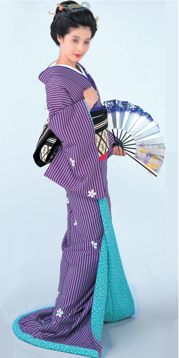 裾引き 仕立て上がり 紫地 縞に白抜き桜裏地紫地銀箔小石「きぬずれ」着物(きもの)