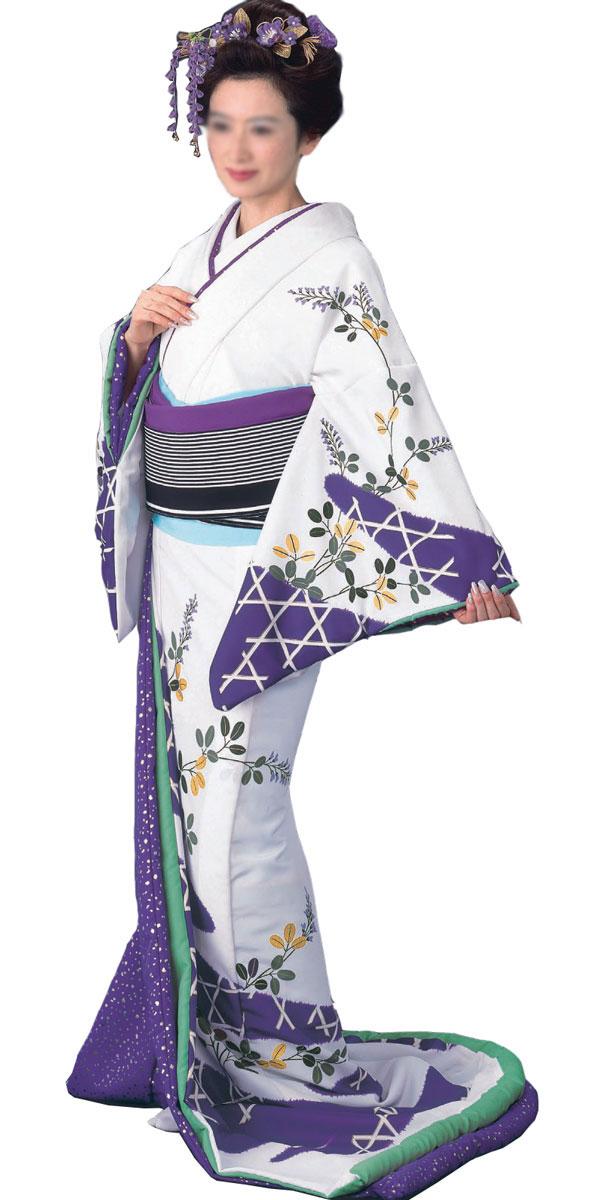 踊り 着物 裾引き 比翼付仕立上り白地 かごめに萩紫地銀箔小石比翼「きぬずれ」着物(きもの)