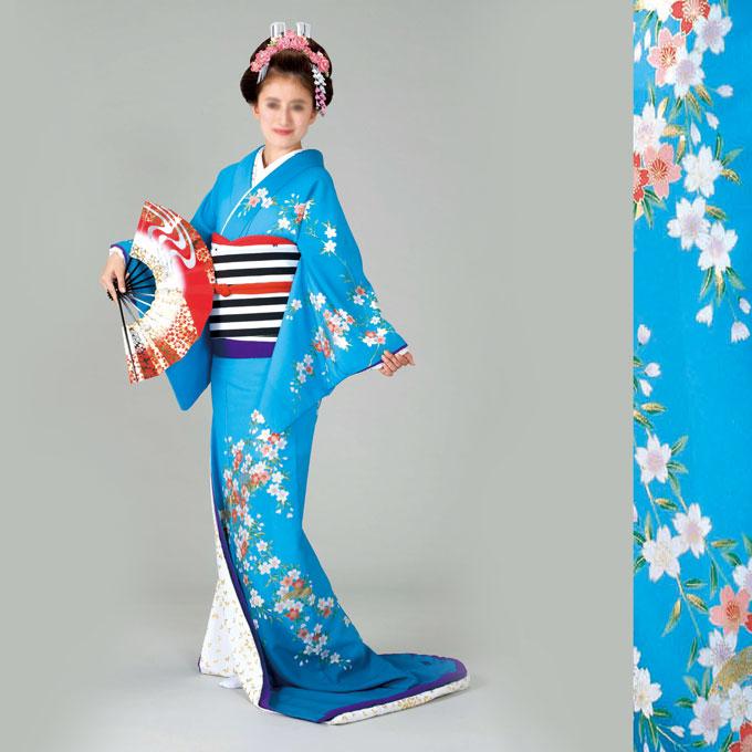裾引 仕立て上がり 比翼付水色地 桜「きぬずれ」着物(きもの)