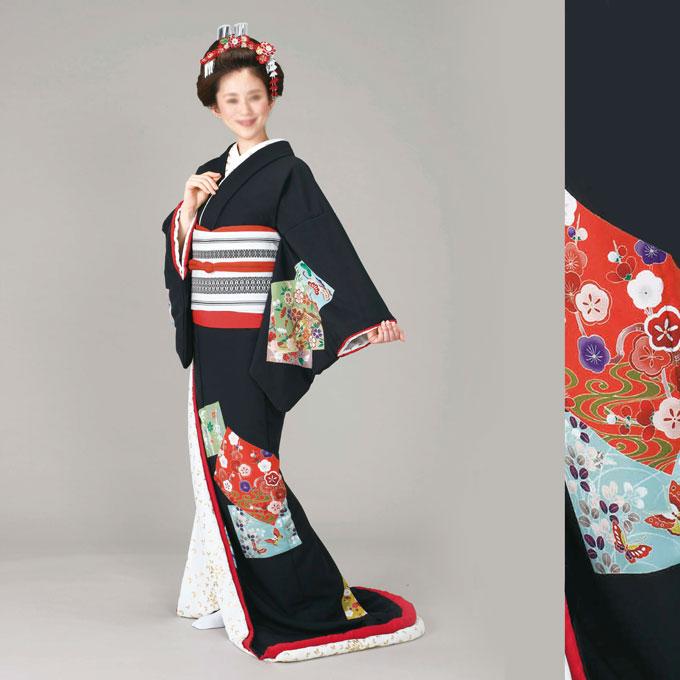 踊り 着物 裾引き 裾引き 仕立て上がり 比翼仕立て 黒地 色紙「きぬずれ」着物(きもの)
