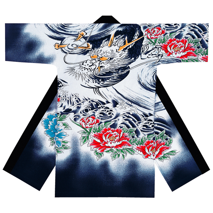 よさこい衣装 長袢天(男女兼用) コスチューム 龍 牡丹