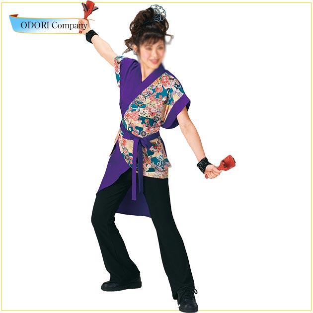 よさこい 衣装 レディース 大人 長袢天 ロング丈 紫