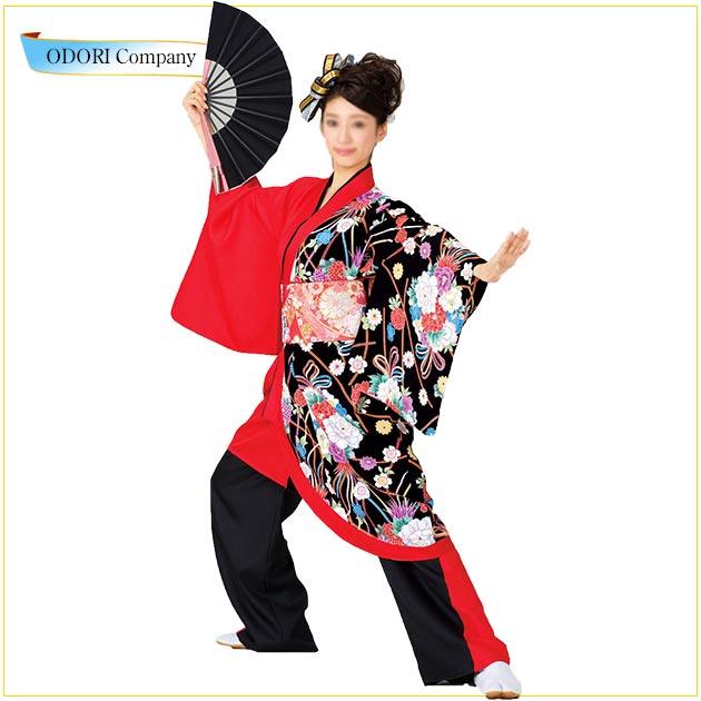 よさこい 衣装 袢天 レディース 大人 よさこい 大人 袢天 おしゃれ 赤 花柄:fb1f0617 --- gipsari.com