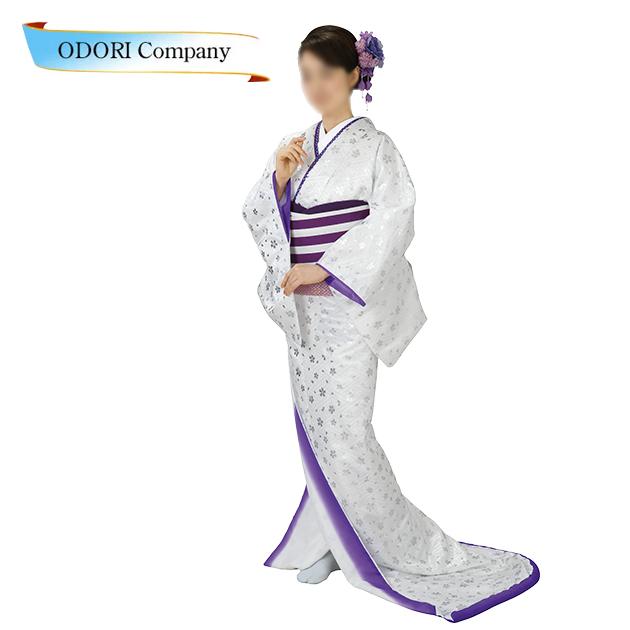 裾引き 仕立て上がり 着物 大衆 演劇 白地 銀箔 桜 舞台衣裳に 日本の踊り