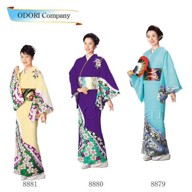 踊り 着物(きもの)女物 単衣 仕立上がり 附下訪問着洗える着物 踊り衣装 絵羽 水色 紫 薄黄レディース