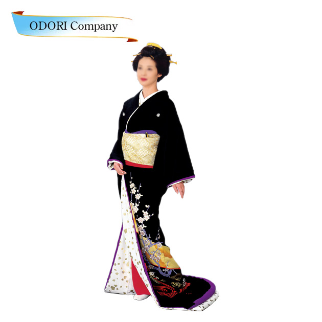 裾引き 比翼付仕立上り 着物(きもの)黒地梅 梅川衣装白地 金切り箔比翼「きぬずれ」