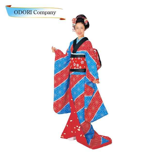 裾引き 舞踊 着物 仕立て上がり 赤・水 麻の葉裏地赤地金花びら「きぬずれ」着物(きもの)