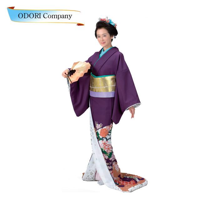 踊り 着物 裾引き 仕立て上がり 紫地 山桜裏地 白地銀桜箔「きぬずれ」着物(きもの)