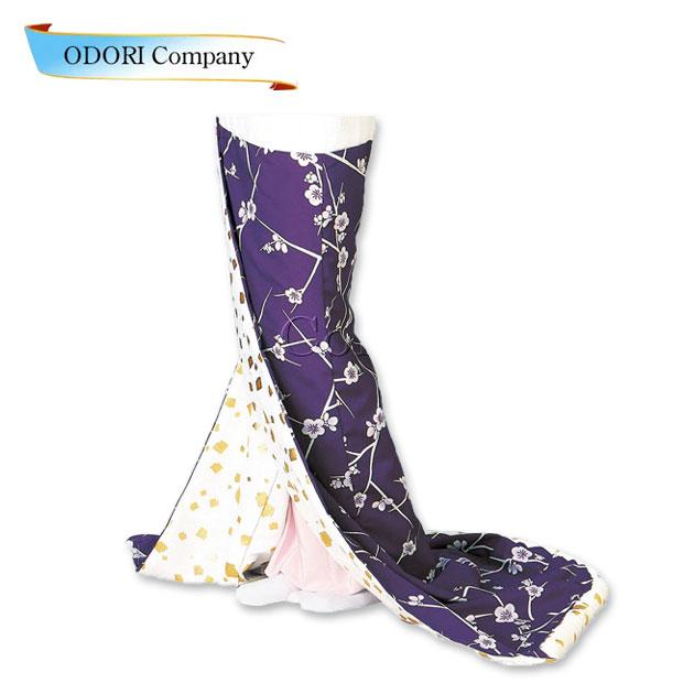 腰下 裾引き 舞踊 稽古用 紫地 梅「きぬずれ」