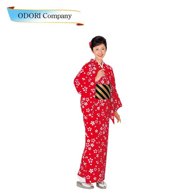踊り 着物 踊り小紋 洗える着物(きもの) 赤地 桜 小紋ひとえ仕立て上がり 「きぬずれ」