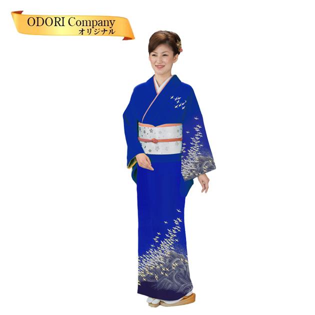 踊り 着物 附下 絵羽 日本舞踊 袷 仕立上がり 花紺地波に鶴