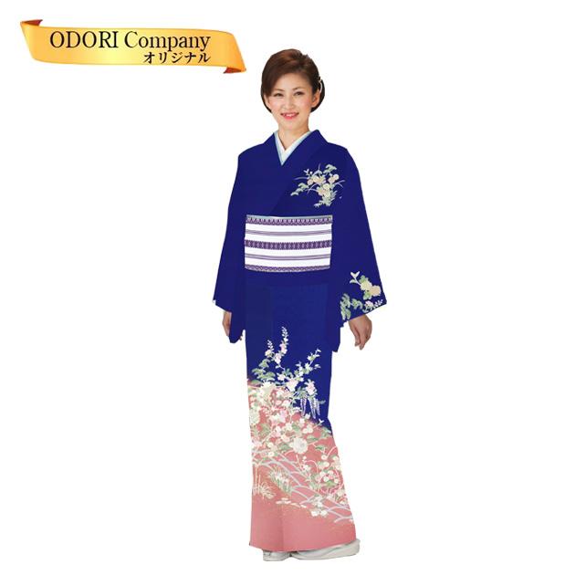踊り 着物 附下 絵羽 日本舞踊 袷 仕立上がり 紺地 四季花