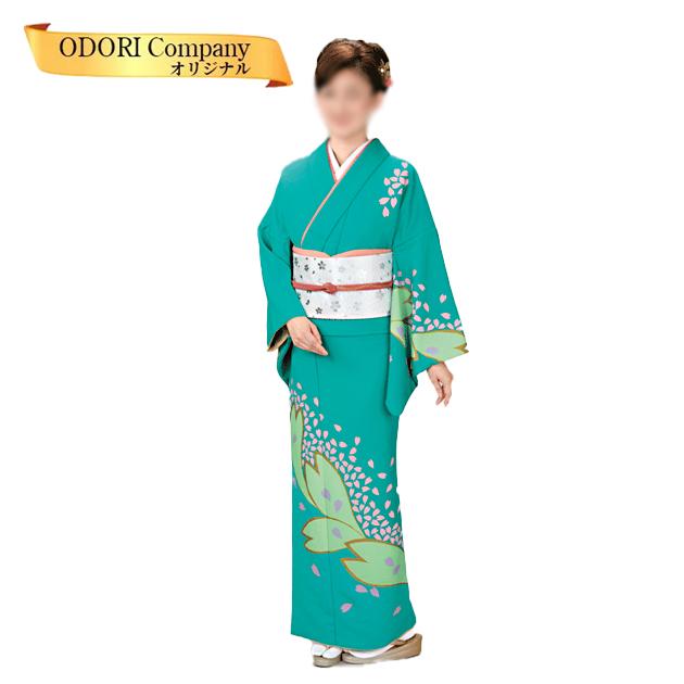 踊り 着物 絵羽 附下 訪問着 日本舞踊 30-37 着物(きもの)胴抜き仕立上がり グリーン地 花びら柄