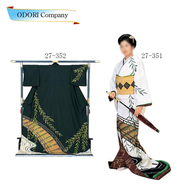 踊り 着物 裾引き 芸者着 仕立上がり ポリエステル 日本舞踊、歌謡舞踊 大衆 演劇 ステージ用。