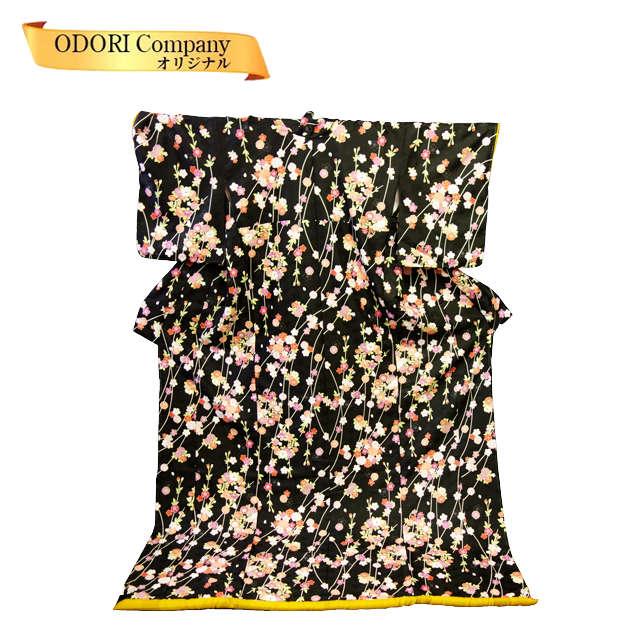 裾引き お引き お引きずり 仕立て上がり 比翼無し 黒地しだれ桜 踊り用 着物 きもの