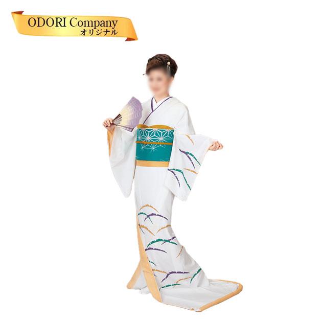 踊り 着物 裾引き 仕立て上がり 比翼無し白地 つゆ芝柄舞台衣裳に。日本の踊り着物(きもの)30-75