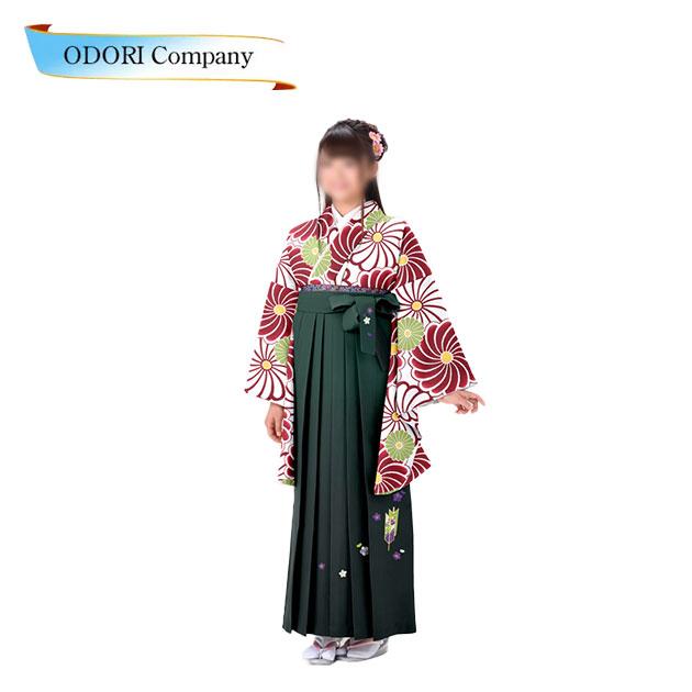 小学生用 二尺袖着物・袴4点セットジュニア女子用袴セット あんどん仕立て卒業式やパーティ、お祝い、十三参りに