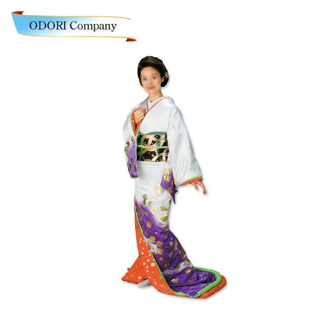 踊り 着物 裾引き 芸者着 仕立上がり ポリエステル日本舞踊、歌謡舞踊 大衆 演劇 ステージ用 着物