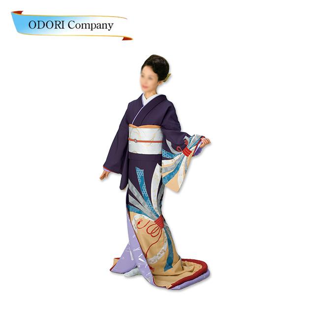 踊り 着物 裾引き 芸者着 仕立上がり ポリエステル日本舞踊、歌謡舞踊 大衆 演劇 ステージ用 着物(きもの)