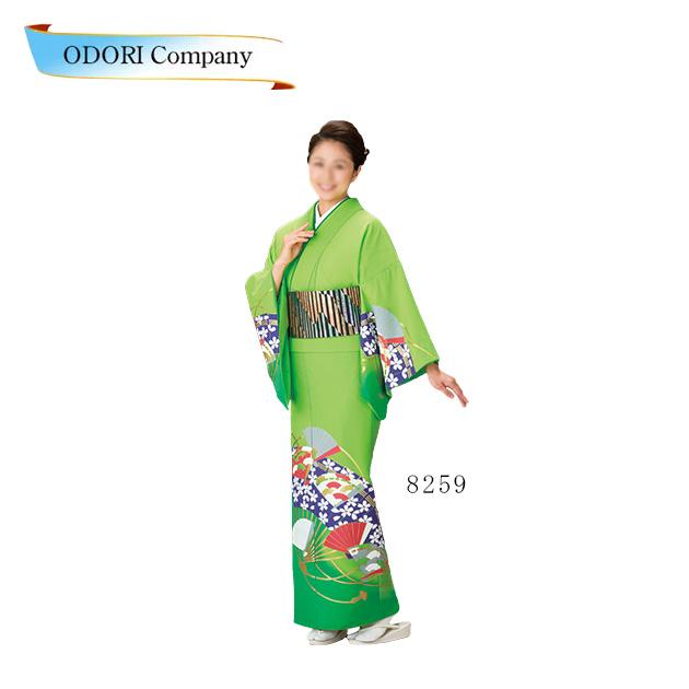 踊り 着物 きもの 女物 胴抜き 仕立上がり 附下訪問着 洗える着物 踊り衣装 絵羽 グリーン