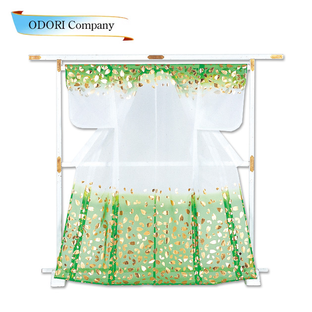 かつぎ かけ仕立 緑 金 白被衣 ※こちらはかけ仕立てでのお届けですかつぎ仕立にもできます。