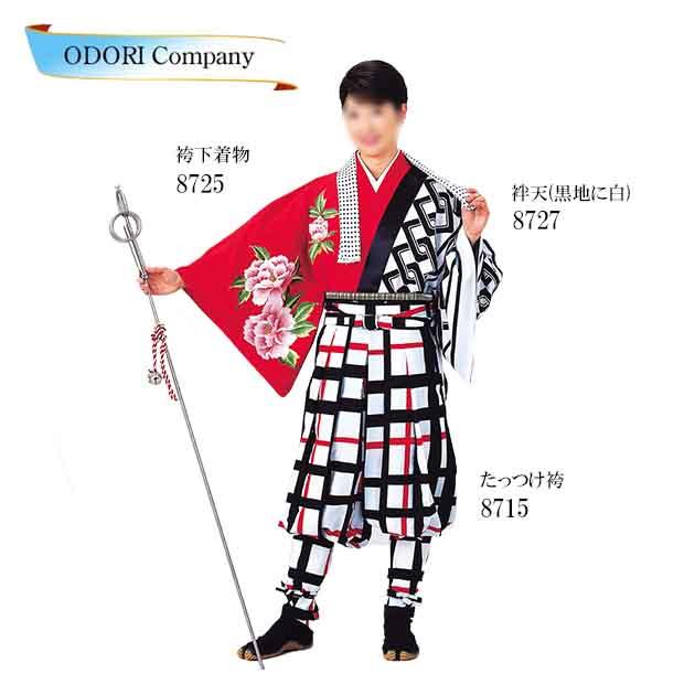踊り用 袴下着物 たっつけ袴 赤 椿 ツバキ よさこい衣装 てこまい 手古舞