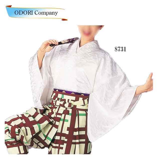 踊り用 袴下着物 たっつけ袴 白 雲取 よさこい衣装 てこまい 手古舞