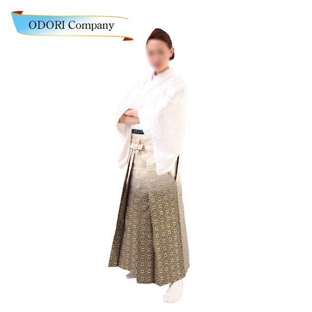 踊り 袴 舞台衣裳 金襴織 袴 はかま 白地グレーぼかし 詩舞、吟舞をはじめ舞踊全般に