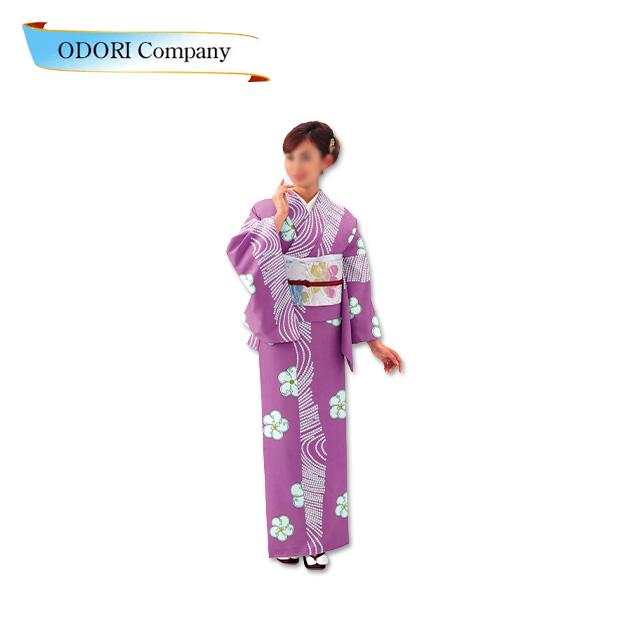 踊り 胴抜き 仕立て上がり 紫 着物ジャガード織生地使用