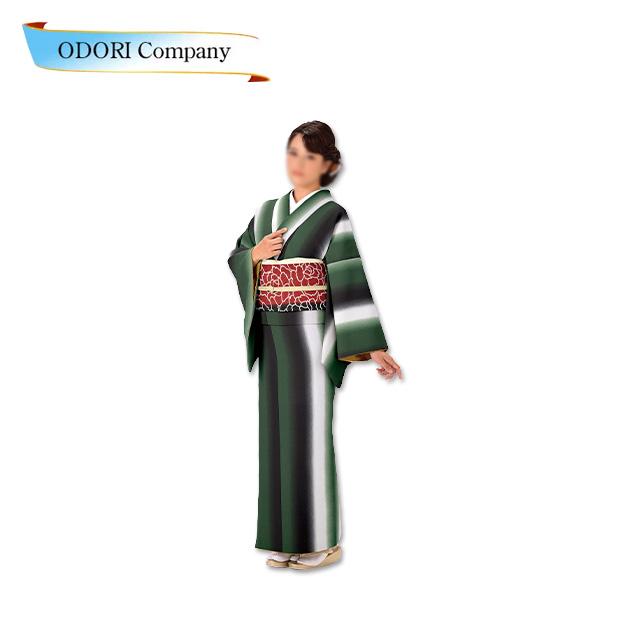 踊り 胴抜き 仕立て上がり 緑 着物ジャガード織生地使用