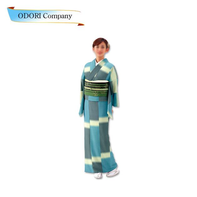 踊り 胴抜き 仕立て上がり水色 着物ジャガード織生地使用