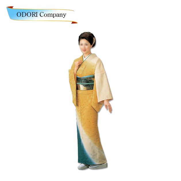 踊り 着物 きもの 女物【反物】紋意匠引染ぼかし絵羽洗える着物 踊り衣装 絵羽 黄色