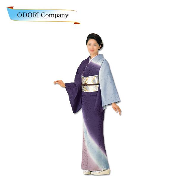 踊り 着物 きもの 女物【反物】紋意匠引染ぼかし絵羽洗える着物 踊り衣装 絵羽 青紫