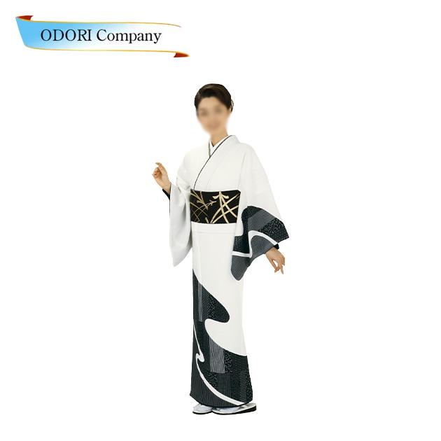 踊り用 着物(きもの) 附下訪問着 洗える着物 日本の踊り 胴抜 仕立て上がり 絵羽 (白地 黒 流水柄)Z-3F