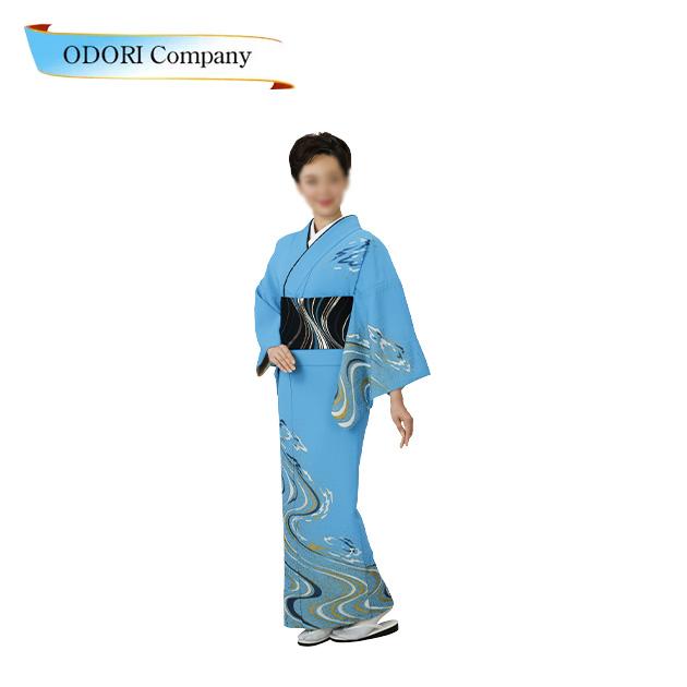 踊り 着物 絵羽 附下 訪問着洗える着物 踊り衣装 胴抜 仕立て上がり 絵羽 日本の踊り (水色地 流水柄)