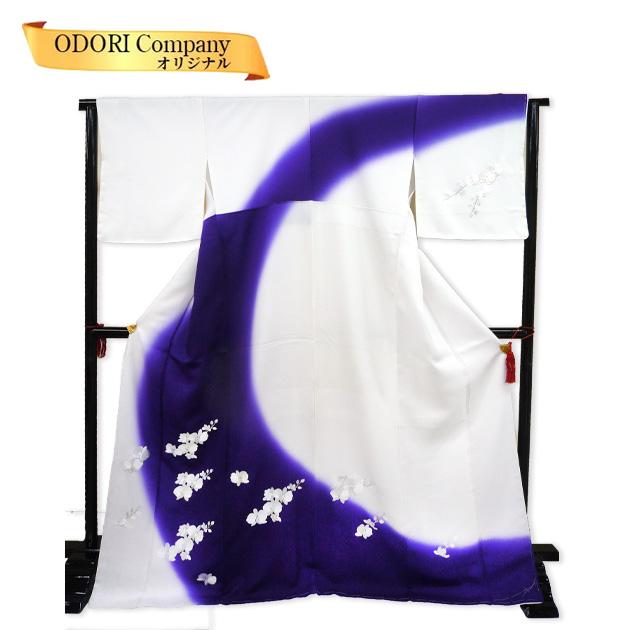 着物 正絹 訪問着 きもの 袷せ 仕立上り 白紫ぼかし地に蘭柄 一点限り Z-3F