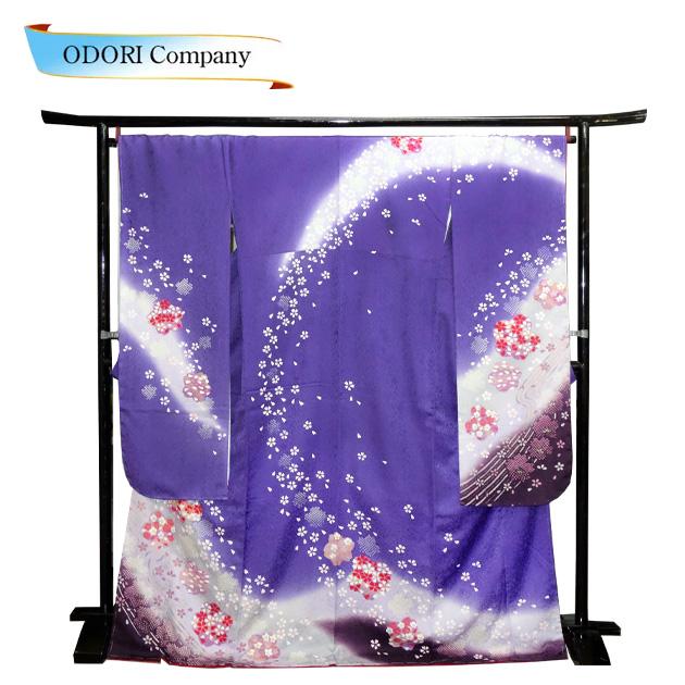 振袖 正絹 着物 きもの 袷せ 仕立上り お買い得 紫地に桜吹雪 Z-3F